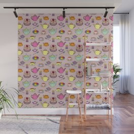 Time For Tea and Cake Illustrated Print Wall Mural