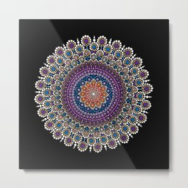 Purple, Blue and Orange Flowering Mandala Metal Print
