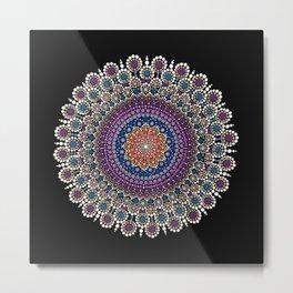 Purple, Blue and Orange Flowering Mandala Metal Print