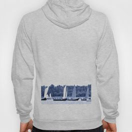 Dutch sailing boats in Delft Blue colors Hoody