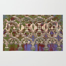 Portugal, gothic tracery at Batalha, the Knights Templar Monastery of Santa Maria da Vitoria  Rug