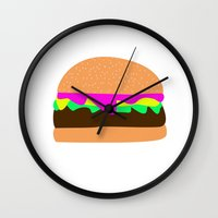 burger Wall Clocks featuring Burger by Sara Hepe