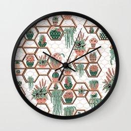 Christmas Succulent Garden. Echeveria, Cacti, plants, aloe vera, pachyveria, haworthia, holiday gift Wall Clock
