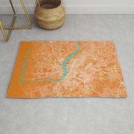 Richmond, VA, USA, Gold, Blue, City, Map Rug