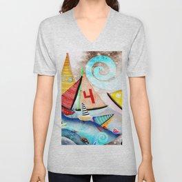 Wooden sail boat Love - Wild ocean waves Unisex V-Neck