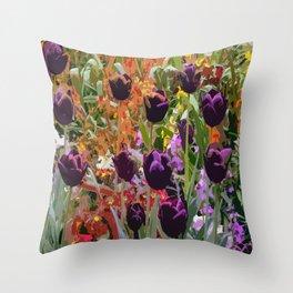 Dancing Purple Tulips Throw Pillow