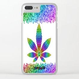 Rainbow Gems Cannabis Leaf (on White) Clear iPhone Case
