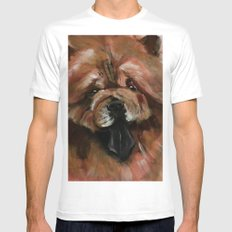 Chow dog portrait Mens Fitted Tee White MEDIUM