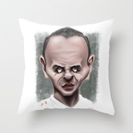 Anthony Hopkins / Hannibal Lecter - Caricature Throw Pillow