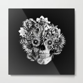 Floral Ohm skull from hand and digital illustration.  Metal Print