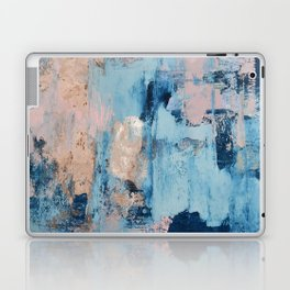 Sunbeam: a pretty abstract painting in pink, blue, and gold by Alyssa Hamilton Art Laptop & iPad Skin