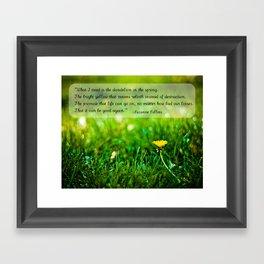 The Hunger Games Dandelion Quote  Framed Art Print