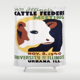 Vintage poster - 14th Illinois Cattle Feeders Meeting Shower Curtain