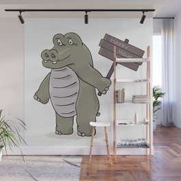 hippopotamus with happy hour sign Wall Mural
