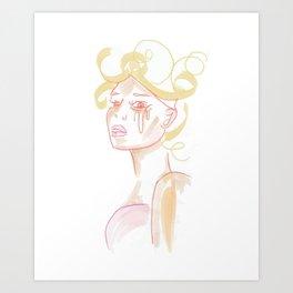 """triste"" - retro crying bombshell Art Print"
