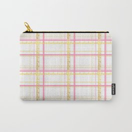 Beautiful Pink and Gold Text Based tartan print - Love Tartan Print Carry-All Pouch