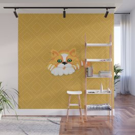 Cute Fluffy Ginger and white cat Wall Mural