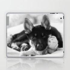 Black white portrait of a shepherd puppy. Laptop & iPad Skin