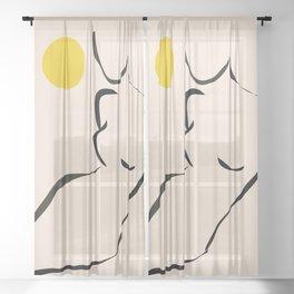 abstract minimal nude Sheer Curtain