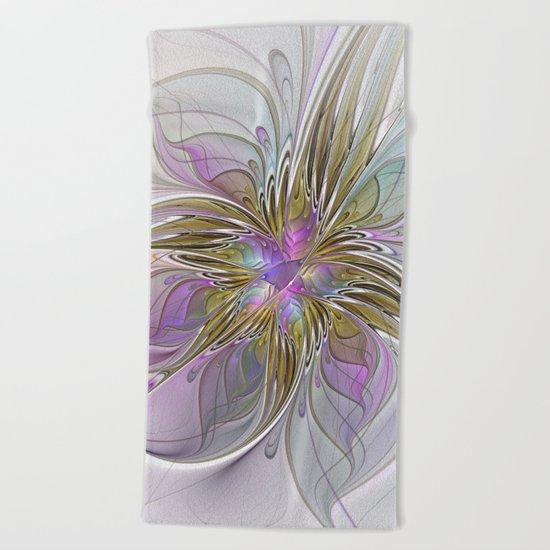 Flourish, Abstract Fractal Art Flower Beach Towel