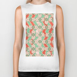 Aztec Emerald Orange Ikat Tribal Diamond Chevron Pattern Biker Tank