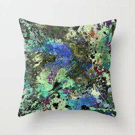 Deep In Thought - Black, blue, purple, white, abstract, acrylic paint splatter artwork Throw Pillow