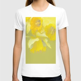Sign of Spring - Yellow Narcissus on Spring Green Background #decor #society6 #buyart T-shirt