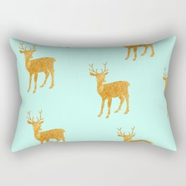 mint gold deer Rectangular Pillow