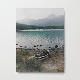 Canoe, Maligne Lake, Jasper National Park, Alberta, Canada Metal Print