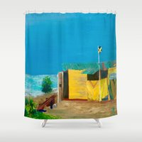 jamaica Shower Curtains featuring Jamaica. Jamaican Blues by ANoelleJay