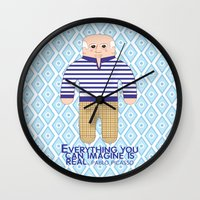 pablo picasso Wall Clocks featuring Pablo Picasso by Late Greats by Chen Reichert
