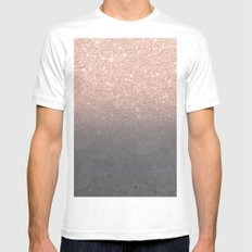 Rose gold glitter ombre grey cement concrete White Mens Fitted Tee MEDIUM