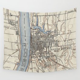 Vintage Map of Baton Rouge Louisiana (1906) Wall Tapestry