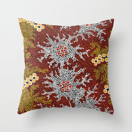 Authentic Aboriginal Art - Bushland Dreaming Throw Pillow