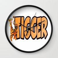 tigger Wall Clocks featuring Tigger by Mix-Master