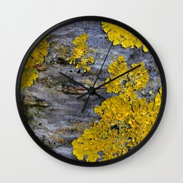 Tree Bark Pattern # 3 with yellow lichen Wall Clock