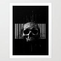 SKULL+CODEBAR Art Print