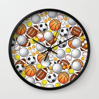 sport Wall Clocks featuring Sport Balls by Martina Marzullo Art