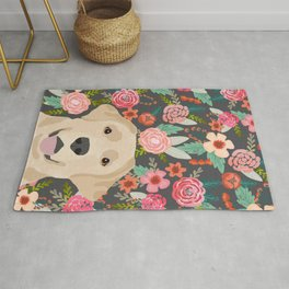 Yellow Lab dog portrait labrador retriever dog art pet friendly florals floral Rug
