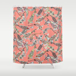 lucky koi coral Shower Curtain