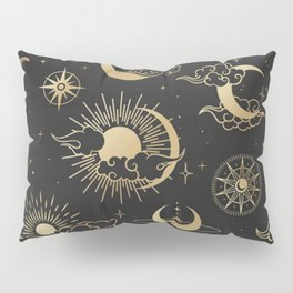 asian seamless pattern with clouds moon sun stars vector collection oriental chinese japanese korean Pillow Sham