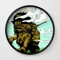 iron giant Wall Clocks featuring GIANT by Aaron Rossell