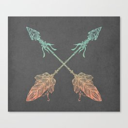 Tribal Arrows Turquoise Coral Gradient on Gray Canvas Print