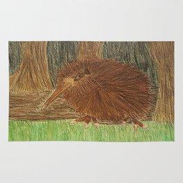 Watercolour & Pencil Kiwi Bird in its natural environment Rug