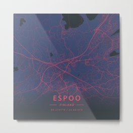 Espoo, Finland - Neon Metal Print