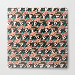 Sushi Panda Pattern Metal Print