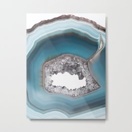Deep Blue Agate with Amethyst Metal Print