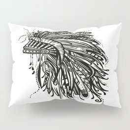Native American Indian Headdress Warbonnet Black and White Pillow Sham