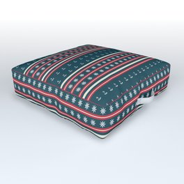 Ships Ahoy Blue/Red Stripe Outdoor Floor Cushion