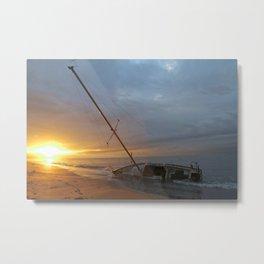 "Sail Boat ""STRANDED SUNRISE""  Metal Print"